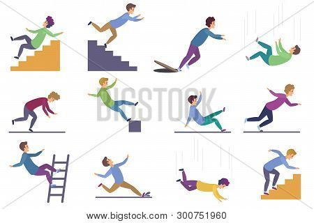 Set Of Injuring People Falling Down The Stairs And Over The Edge, Ladder, Drop From The Altitude, We