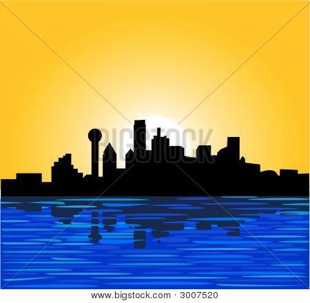 Dallas Sky Line Sonne aufgehen