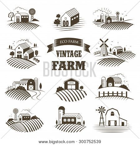 Set Of Isolated Vintage Eco Farms, Landscapes, Labels For Natural Farm Products. Farm House Concept