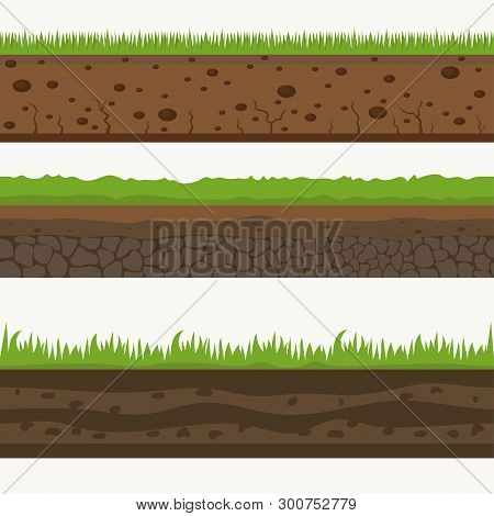 Soil Seamless Layers Ground Layer. Stones And Grass On Dirts. Vector