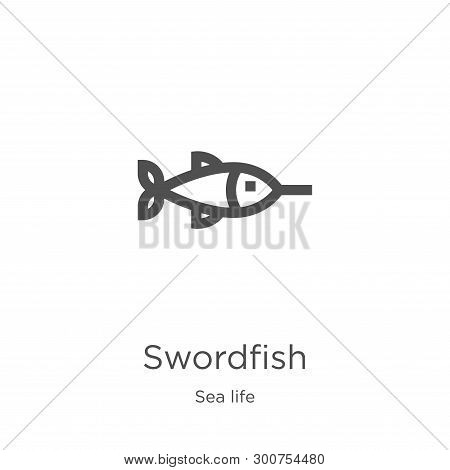 Swordfish Icon. Element Of Sea Life Collection For Mobile Concept And Web Apps Icon. Outline, Thin L