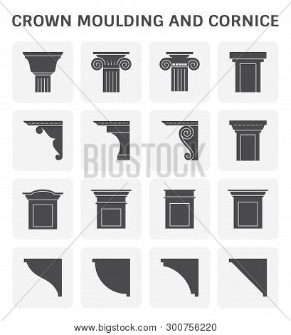 Crown Moulding And Cornice Icon Set Design.