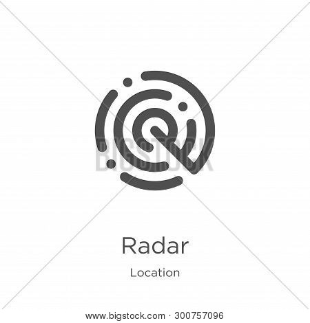 radar icon. Element of location collection for mobile concept and web apps icon. Outline, thin line