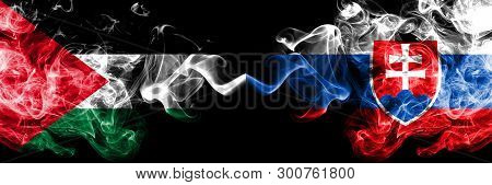 Palestine Vs Slovakia, Slovakian Smoky Mystic Flags Placed Side By Side. Thick Colored Silky Smokes