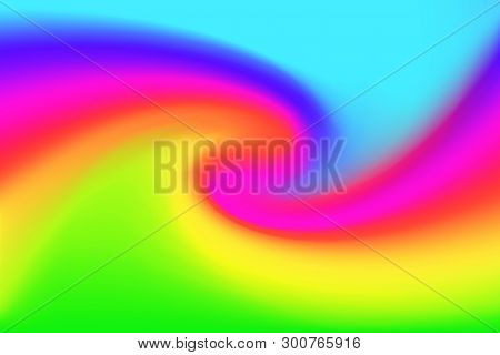 Blurred Blue Pink And Green Colors Twist Wave Colorful Effect For Background, Illustration Gradient