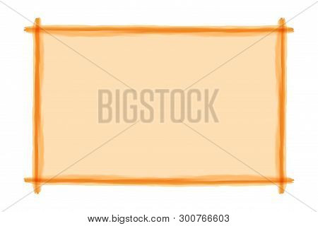 Orange Frame Art Line Watercolor Style For Banner Background And Copy Space, Orange Art Line Banner