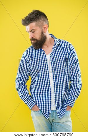 Charismatic Man With Beard On Yellow Background. Male Fashion And Spring Style. Mature Serious Man.