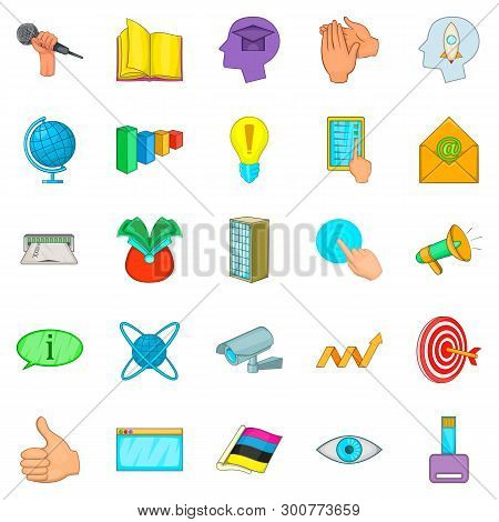 Business Negotiation Icons Set. Cartoon Set Of 25 Business Negotiation Icons For Web Isolated On Whi