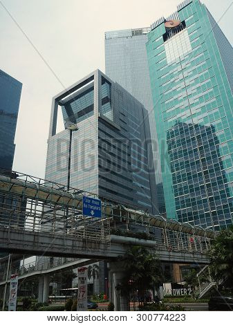 Jakarta, Indonesia - April 17, 2019: Background Of Tall Buildings Of Bendungan Hilir District On Jal