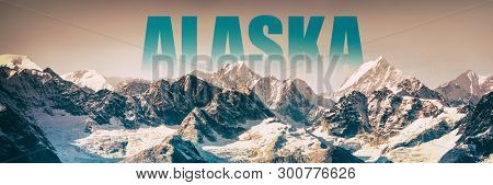 Alaska landscape panoramic banner of snow mountain peaks in Glacier Bay National Park, USA. Alaska title poster for cruise travel getaway in summer winter. Background for advertising.