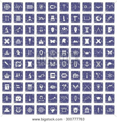100 archeology icons set in grunge style sapphire color isolated on white background illustration poster
