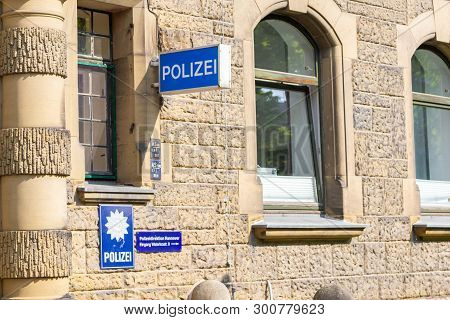 Hannover / Germany - May 9, 2019: Polizei Sign On A German Police Department In Hannover. The German