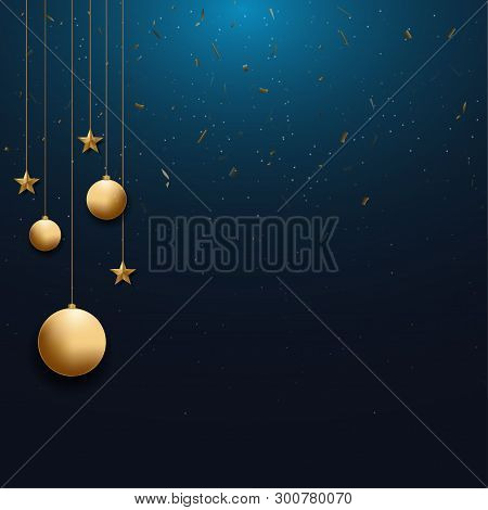 Christmas Background With Gold Christmas Ball And Star  And Space For Text, Vector Illustration