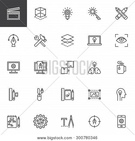 Creative Process Design Line Icons Set. Linear Style Symbols Collection, Outline Signs Pack. Vector