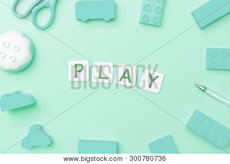 Play Concept With Toy And Objects For Child Education Concept On Teal Background