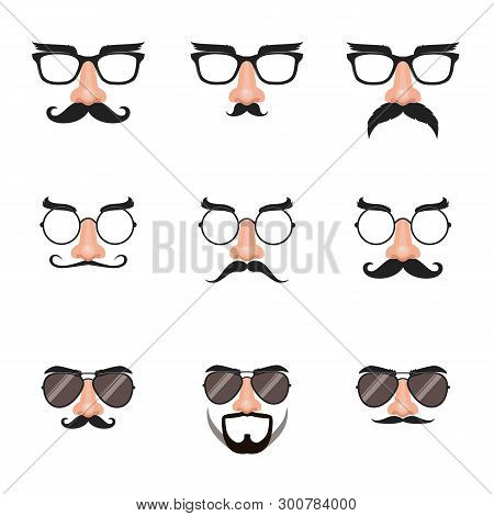 Fake Nose And Glasses Set With Mustache And Eyebrows