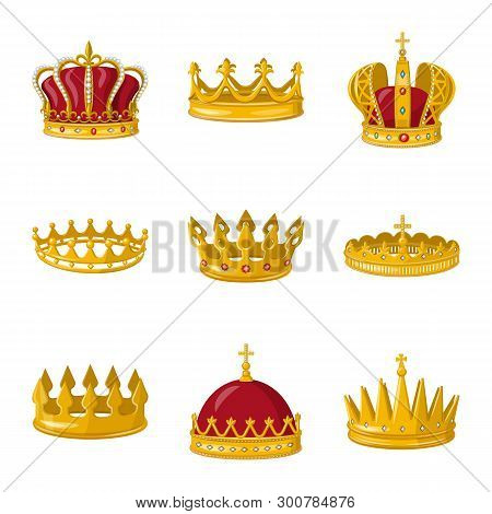 Vector design of monarchy and gold symbol. Collection of monarchy and heraldic vector icon for stock. poster
