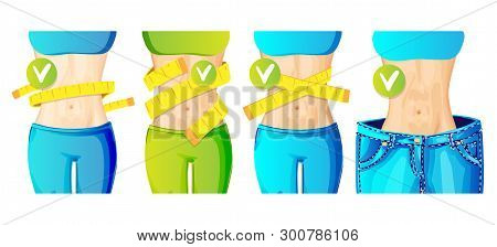 Women Slim Waist With Measure Tape Around And In Big Jeans - Weight Loss Concept Icon, Bright Colors