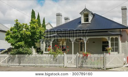 Hobart, Australia- December, 21, 2016: Close Up Of A Cottage At Arthur Circus In Battery Point, Tasm