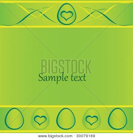 green easter card with eggs and lines