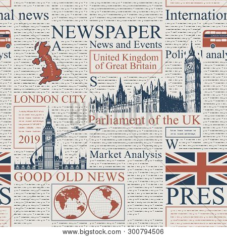 Vector Seamless Pattern With Uk Or London Newspaper. Page Of Newspaper Or Magazine With Headings, Il