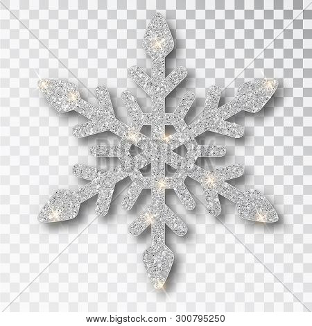 Silver Snowflake Isolated On A Transparent Background. Christmas Decoration, Covered Bright Glitter.