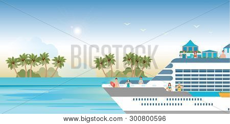 Cruise Ship With Tourists Traveling On A Cruise Boat Making Party And Take Pictures, Vector Illustra