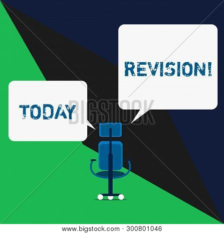 Text sign showing Revision. Conceptual photo action of revising over someone like auditing or accounting. poster