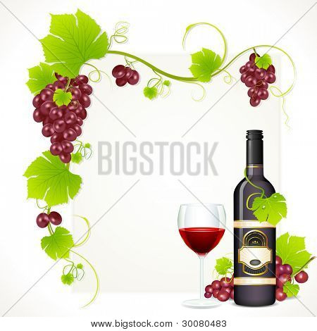 illustration of red grape with bottle of red wine and glass full of wine with copy space