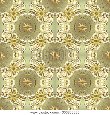 Abstract Sketch, Wrapping Decoration. Vector Golden Pattern On Neutral And White Colors. Golden Snow