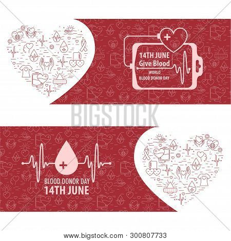 Donation Blood Horisontal Banner From Line Icons Element. 14 June - World Blood Donation Day. Vector