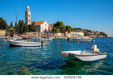 Franciscian Monastery In Hvar Town In Croatia. Hvar Town Is The Famous Town For Summer Beach Vacatio
