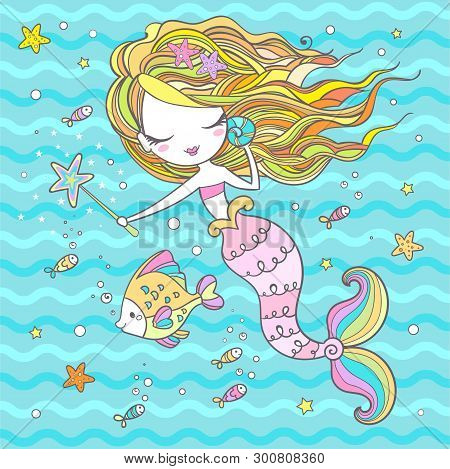 Little Mermaid, Sorceress. Cartoon Character. Marine Theme. Vector
