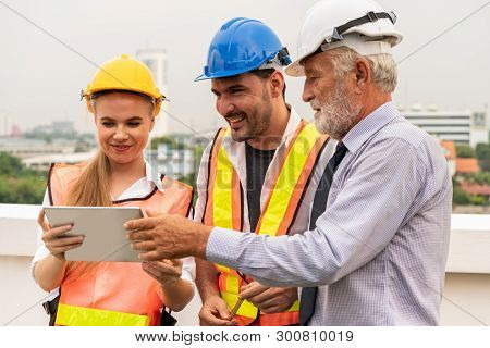 Engineer, Architect And Business Man Working.