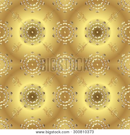 Winter Snow Texture Sketch. Golden Snowflakes On Yellow And Beige Colors. Christmas Golden Snowflake