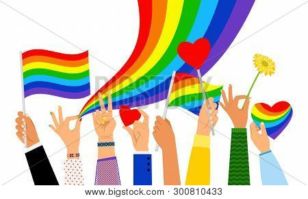 Lgbt Hands. Hand Holding Pride Flag Or Transgender Sign Isolated On White Background, Vector Illustr