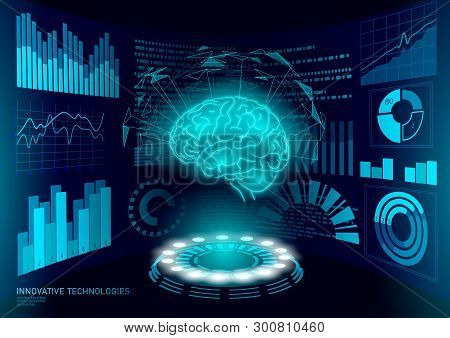 Brain Diagnostic Treatment Low Poly 3d Hud. Drug Nootropic Stimulant Smart Display. Medicine Cogniti