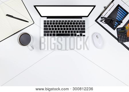 Flat Lay Office Desk Table Of Modern Workplace With Laptop On White Table, Top View Laptop Backgroun