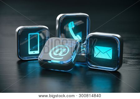 Contact us website page and internet concept.  Contact methods. Signs of phone, mobile, letter and e-mail. 3d illustration