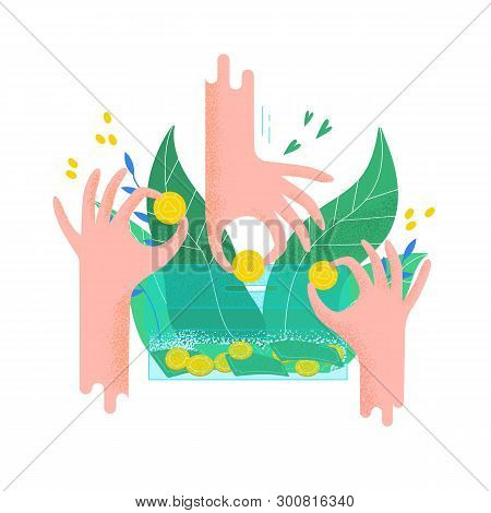 Hands Holding Coins And Putting Them Into Money Box. Concept Of Charity Project, Donation Service, F