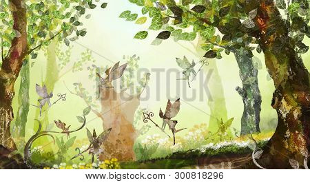 Fairy Forest, Trees, Grass, Fog, Flying Fairies