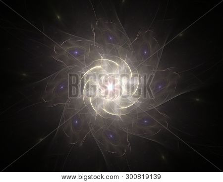 Abstract Fractal Background - Computer-generated Image. Digital Art. Converging Toward The Center Of