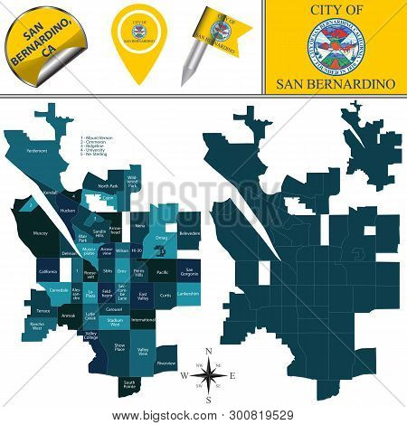 Vector Map Of San Bernardino, California In The United States With Named Neighborhoods And Travel Ic
