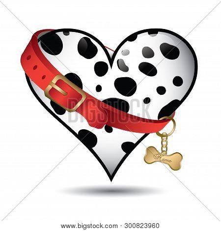 Cute Pet Dalmatian Pattern Heart Shaped - Vector Pattern - Vector