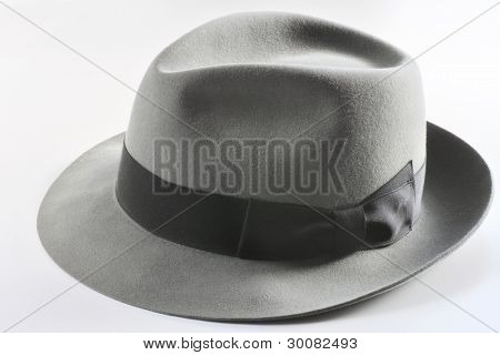 Vintage Gray Hat  On White Backgroud