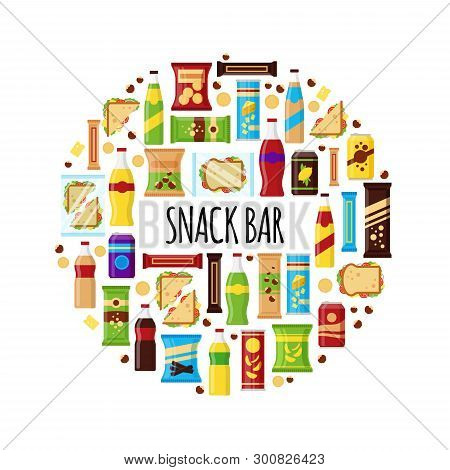 Snack Product In Circle. Fast Food Snacks, Drinks, Nuts, Chips, Cracker, Juice, Sandwich For Snack B