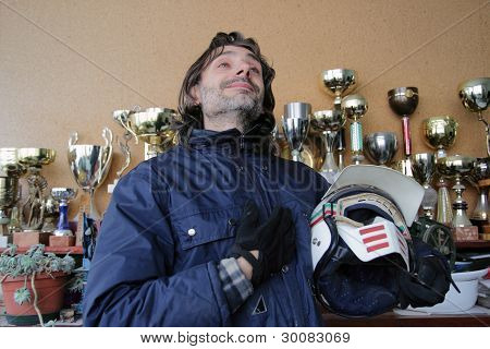 motorcyclist With Trophies