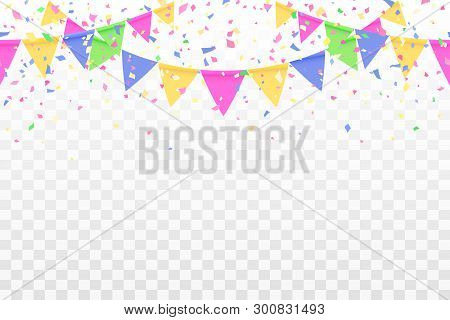 Beautiful Pattern Colorful Flags Garland And Confetti. Carnival Garland With Pennants For Birthday C