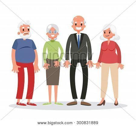 Group Of Old People Standing. Senior Man And Woman