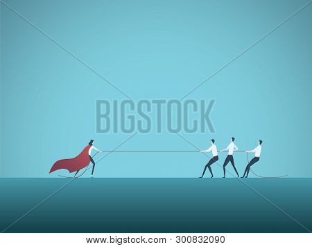 Businesswoman Superhero In Tug Of War With Man Vector Concept. Symbol Of Feminism, Emancipation Woma